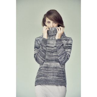 Pullover femme col roulé coton bio chanvre Bianca