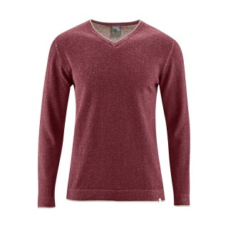 Pull homme col V coton bio chanvre marron rouge chestnue