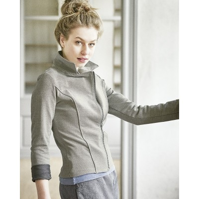 94f2e47f6fad8 Veste grise courte femme coton bio chanvre Thelma - Sao-Bio