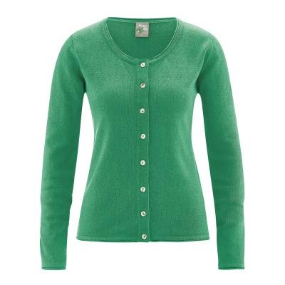 Cardigan coton bio, chanvre et coton bio recyclés Carina vert