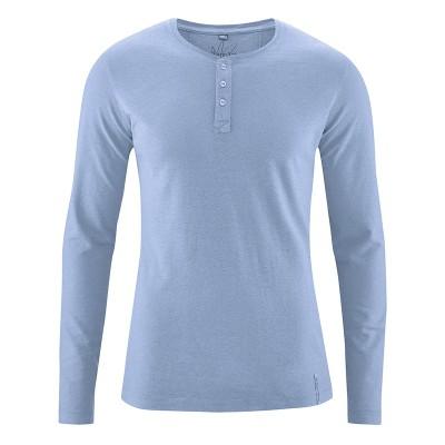 T-shirt Manches longues 45 %chanvre et 55% coton bio Daniel bleu clair rany