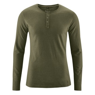 T-shirt Manches longues 45 %chanvre et 55% coton bio Daniel vert kaki wolf
