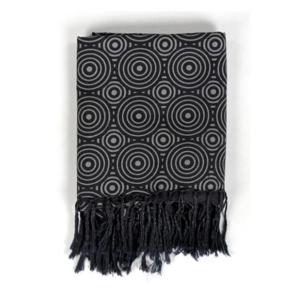 6659f7e9972 Cheche foulard formes psychedeliques noir et gris - Sao-Bio