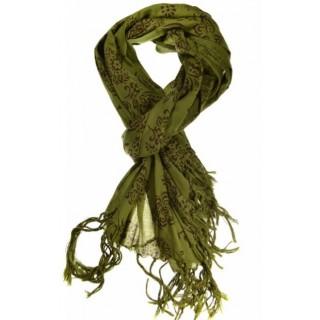 Cheche foulard kaki avec des fleurs