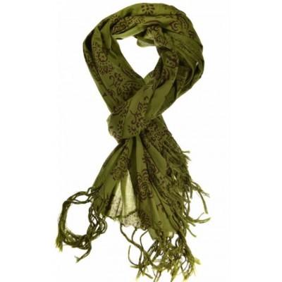 Cheche foulard kaki avec des fleurs - Sao-Bio 4e6d94a953a