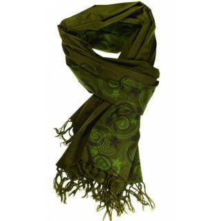 Cheche foulard vert kaki imprimé fleurs