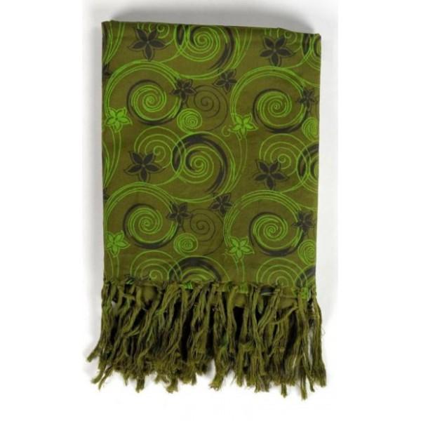 Cheche foulard vert kaki imprimé fleurs - Sao-Bio 231b0280409