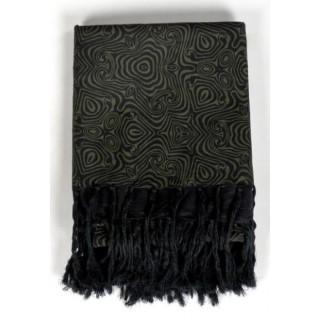 Cheche keffieh noir vert formes psychedeliques