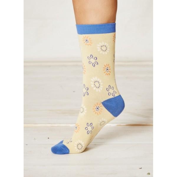 chaussettes femme bambou coton bio jaune avec fleurs sao bio. Black Bedroom Furniture Sets. Home Design Ideas