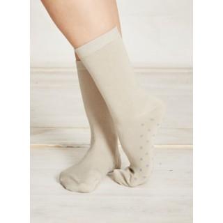 Chaussettes femme grises à pois gris clair bambou et coton bio
