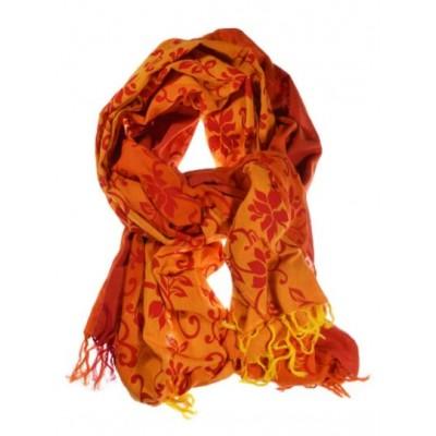 Cheche foulard orange rouge flowers
