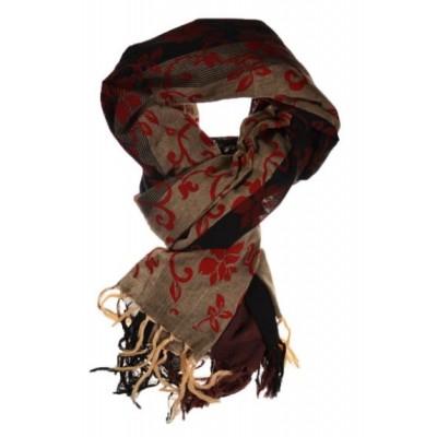 Cheche foulard noir gris fleurs royales - Sao-Bio cb7eca63372