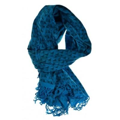 Cheche foulard bleu turquoise Labyrinthe