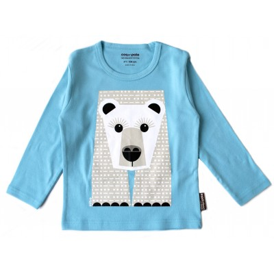 T-shirt bleu manches longues ours blanc