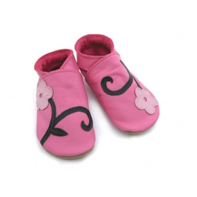 CHAUSSONS STARCHILD CUIR SOUPLE Orchidée in rose and grappe