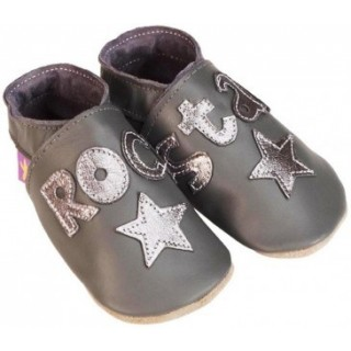 CHAUSSONS STARCHILD CUIR SOUPLE Rock star grey and metal