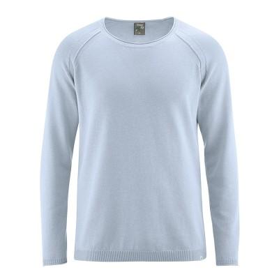 Pull manches raglan coton bio et chanvre gris bleu clear sky