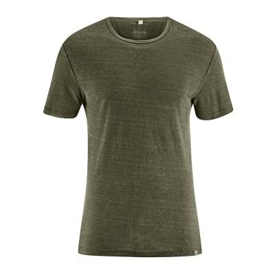 T-shirt homme en pur chanvre bio et équitable col rond vert kaki wolf