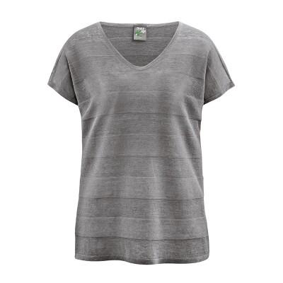T-shirt manches courtes femme chanvre coton bio col V taupe