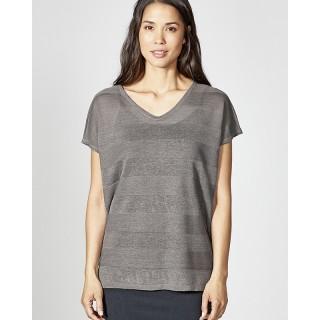 T-shirt manches courtes femme chanvre coton bio col V