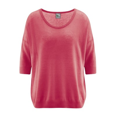Pull ample manches 3/4 chanvre et coton bio tomate