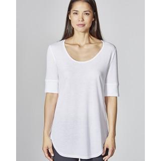 Tee shirt, tuniques femme col avec arrondi et coutures chanvre et coton bio