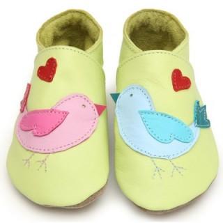 Chaussons bébé cuir souple oiseaux vert anis