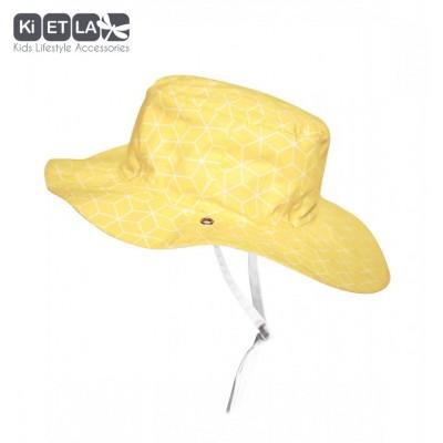 Chapeau jaune et imprimé Cubik sun anti-UV