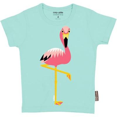 T-shirt coton bio coq en Pâte flamant rose