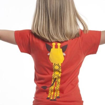 T-shirt coton bio rouge Girafe