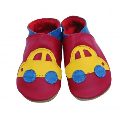 CHAUSSONS STARCHILD CUIR SOUPLE Car red, yellow
