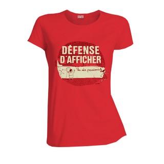 T-shirt coton bio rouge Hibiscus Défense d'afficher