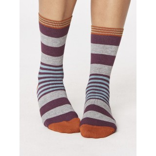 Chaussettes femme bambou rayées thoght