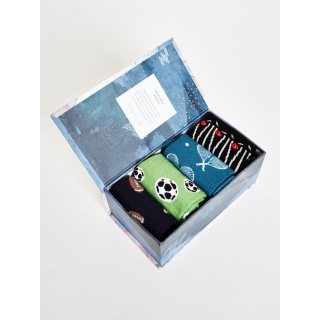 Coffrets cadeaux bio 4 paires de chaussettes homme en bambou et coton bio thème sport