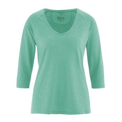 Pull col v en chanvre coton bio Raglan couleur jade