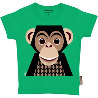 T-shirt coton bio vert Singe