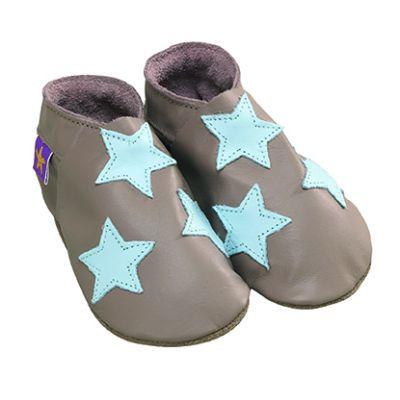 Chaussons cuir souple taupe étoiles bleu turquoise