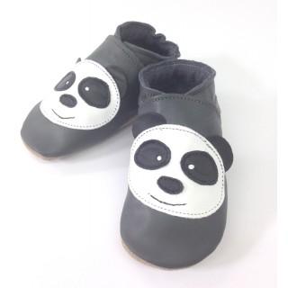 Chaussons enfant cuir souple gris anthracite panda