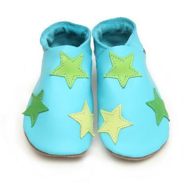 Chaussons cuir souple bleu turquoise étoiles vertes