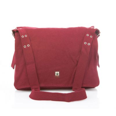 Grand sac chanvre pure messenger bordeau