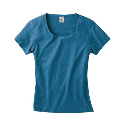 T-shirt breezy en coton bio et chanvre femme sea bleu
