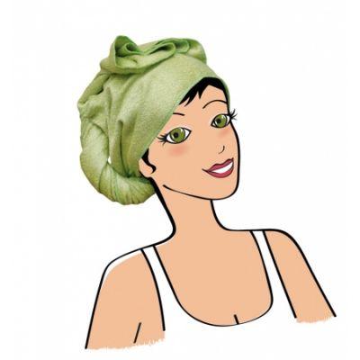 Serviette à cheveux en bambou vert