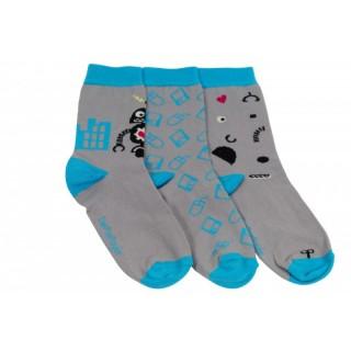 Lot de 3 chaussettes dépareillées pour enfant robot au grand coeur