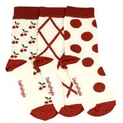 Lot de 3 chaussettes bébés blanches Cerises rose