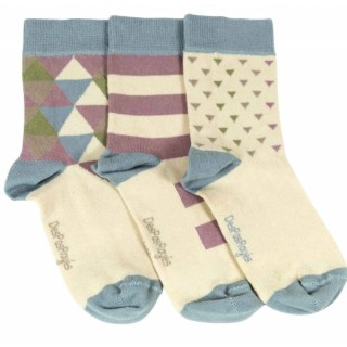 Chaussettes fille triangles et rayures crême