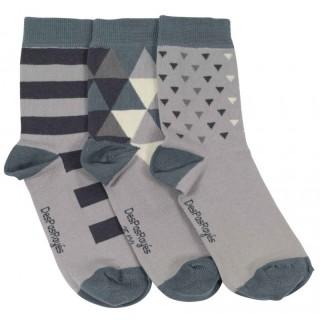 Lot de 3 paires chaussettes femme triangles bleus