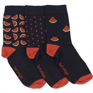 Lot de 3 chaussettes dépareillées noir pastèques
