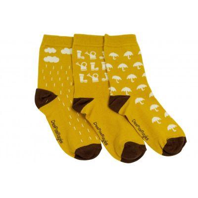 Lot de 3 chaussettes bébé Automne moutarde