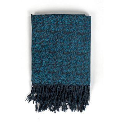 Cheche foulard noir et bleu style ethnic avec fleurs
