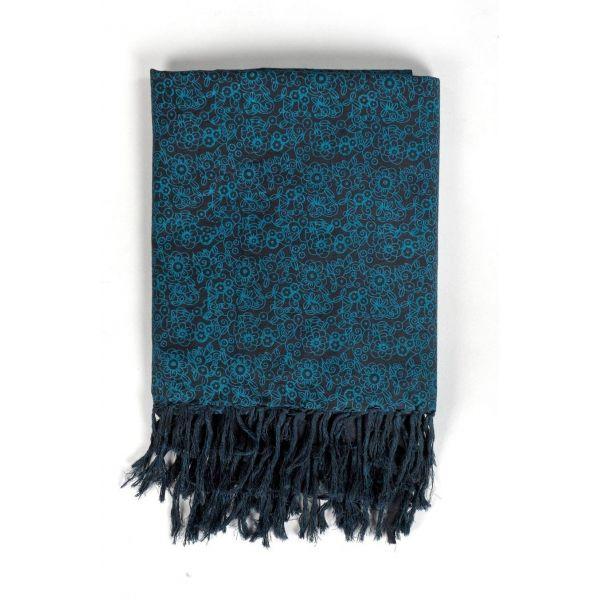 Cheche foulard noir et bleu style ethnic avec fleurs - Sao-Bio be5db18cc24
